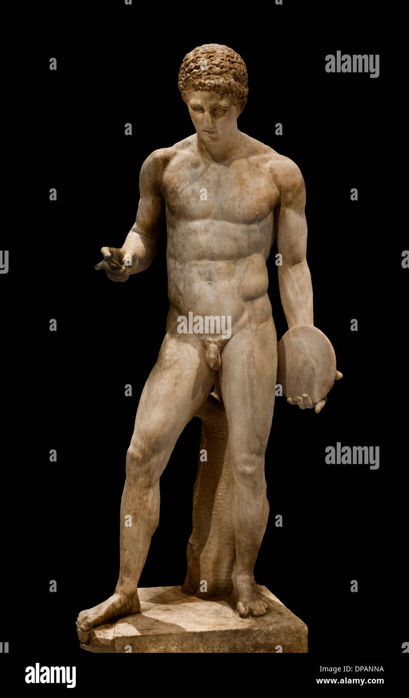 Athlete holding a discus Roman 130-150 AD copy of a 'discophore' of bronze According Naucydes  400 BC Greek Greece - Stock Image