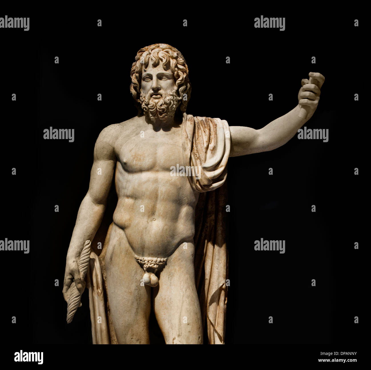 Jupiter king of the Roman gods bringing lightning and accompanied by eagle Rome Italy 150 AD marble - Stock Image