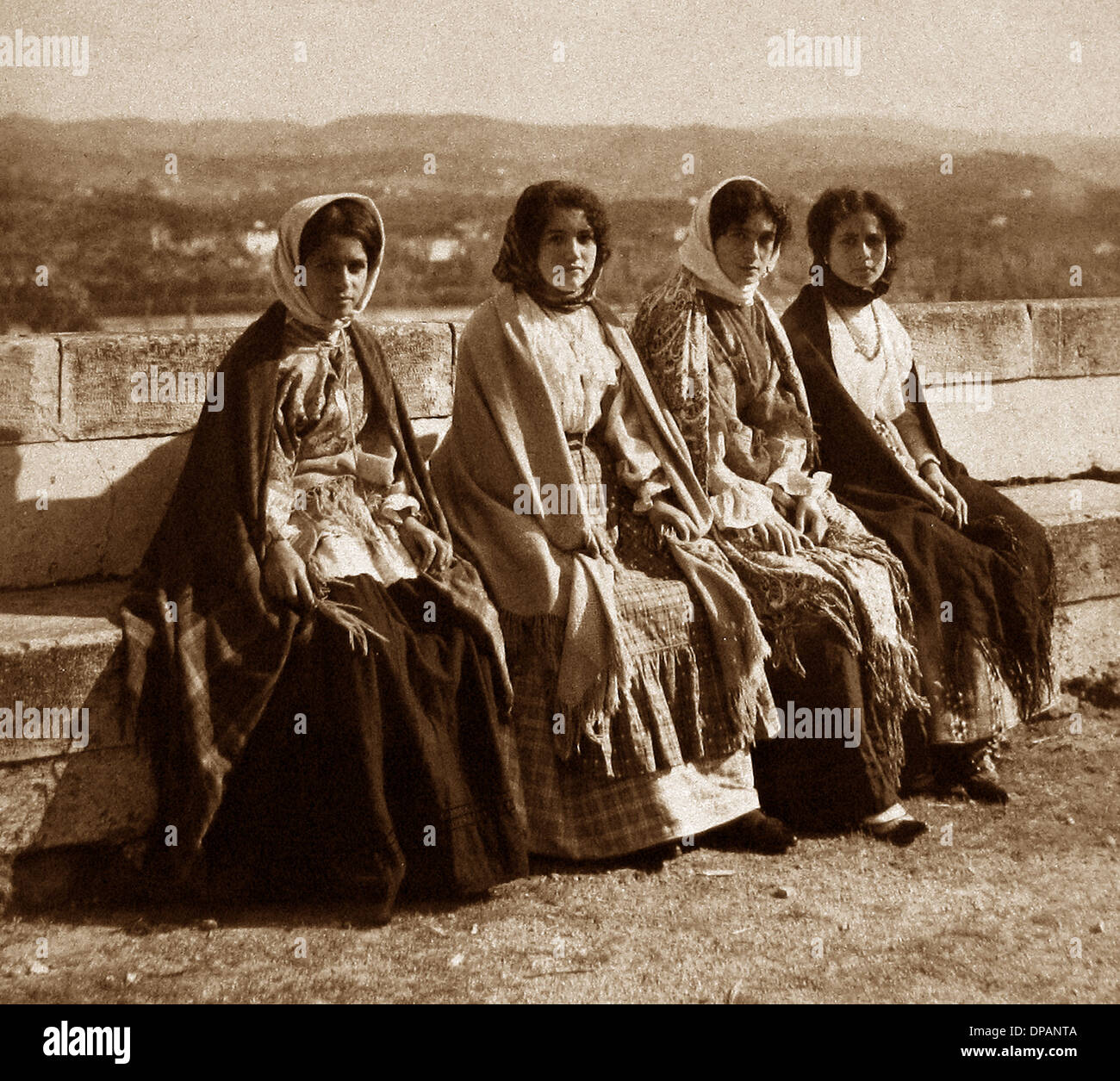 Portugal Tricanas in Coimbra in 1909 - Stock Image