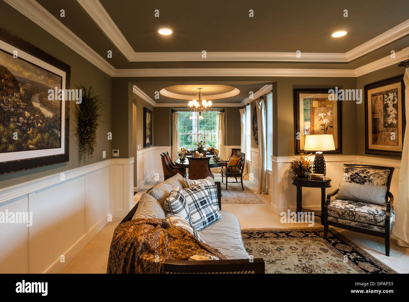 Sitting, Living Room, Or Parlor In High End Luxury Home.