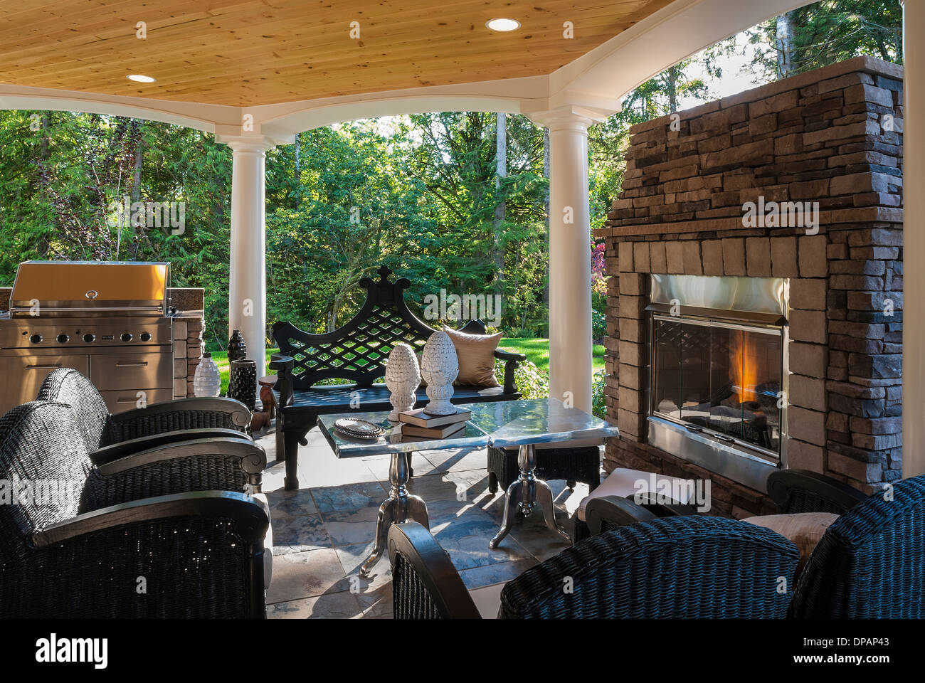 and outside to archadeck sitting stone wall my can outdoor close the an fireplace of home how be