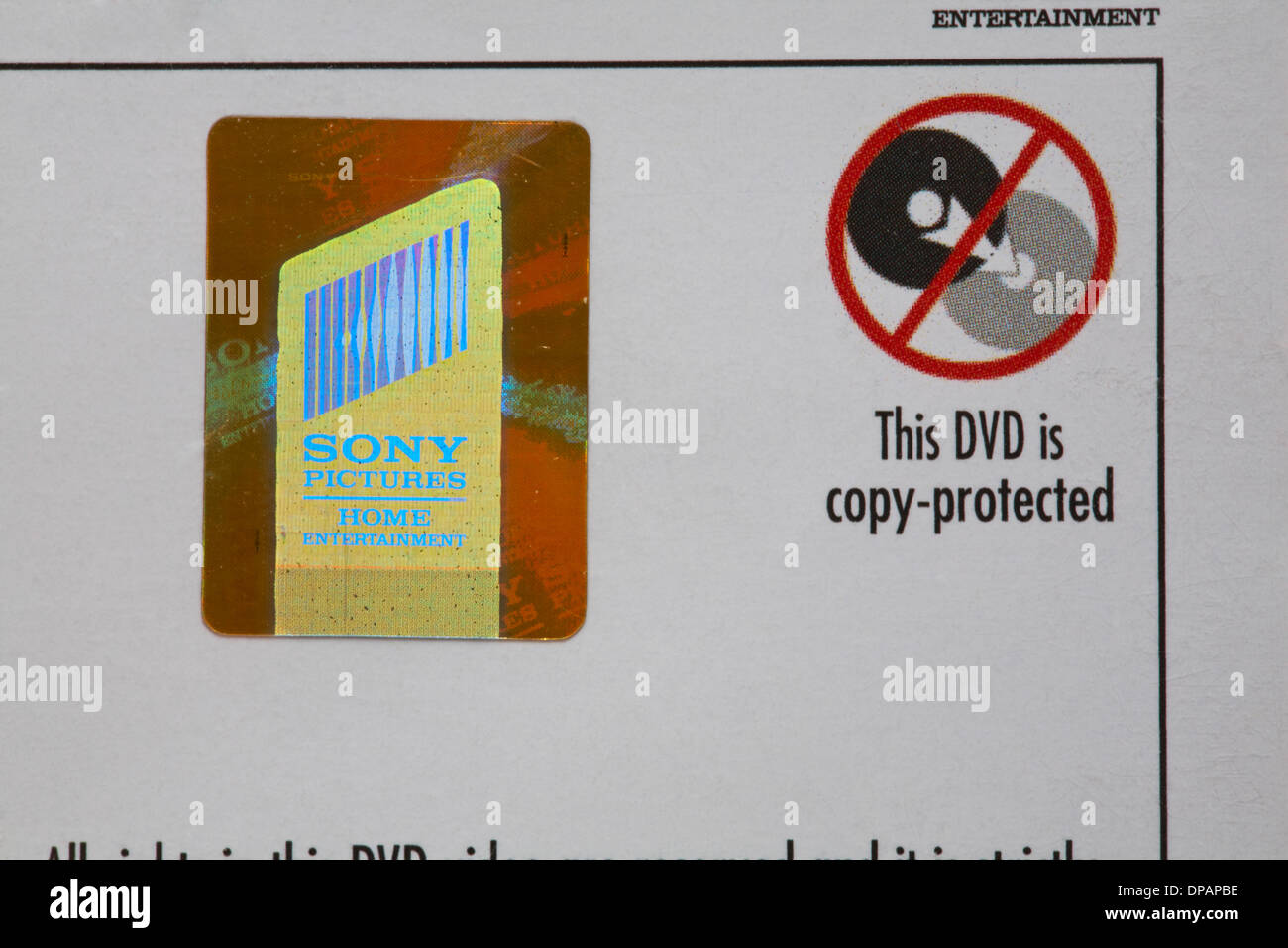 This Dvd Is Copy Protected Sony Pictures Home Entertainment Stock Photo Alamy