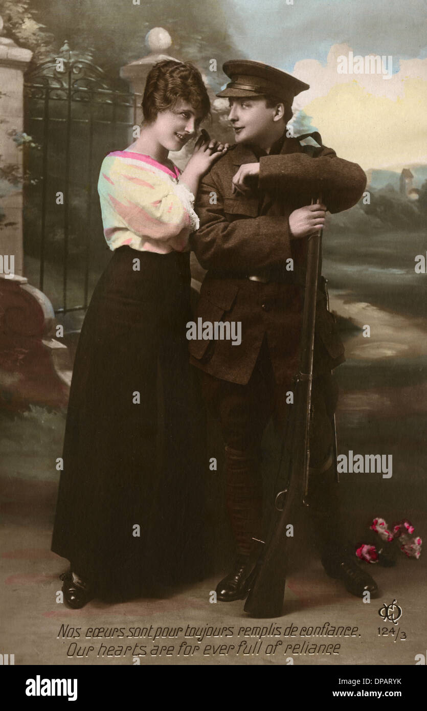 WW1 POSTCARD COUPLE - Stock Image