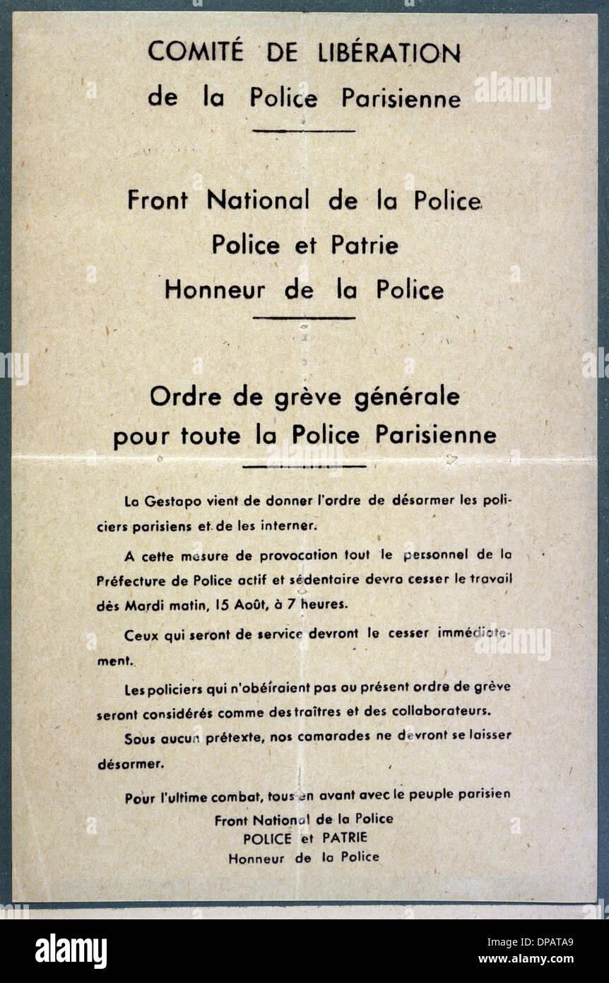 POLICE STRIKE 1944 - Stock Image
