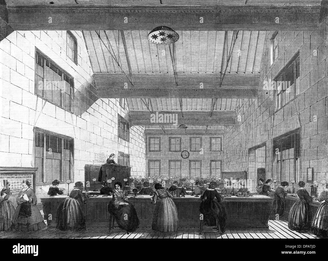 TELEGRAPH OFFICE 1859 - Stock Image