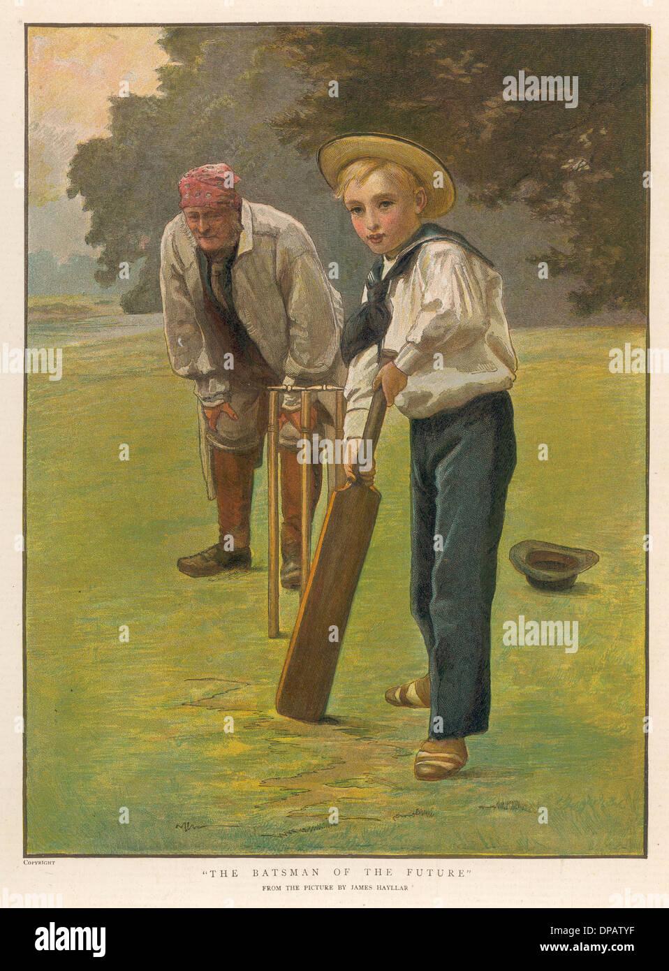 A YOUNG BATSMAN - Stock Image