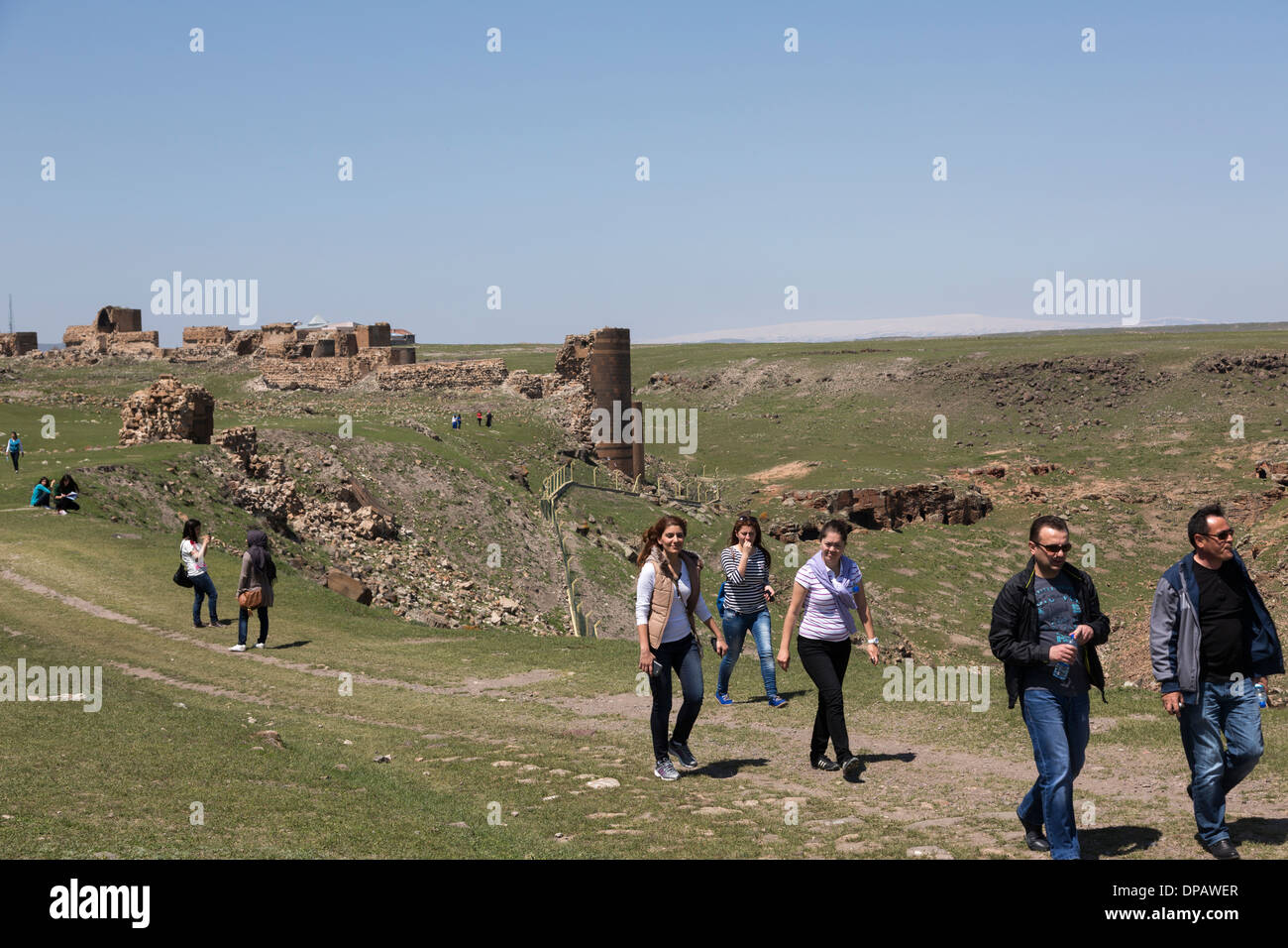 architecture professor and students on field trip to the ruined city of Ani, Turkey Stock Photo