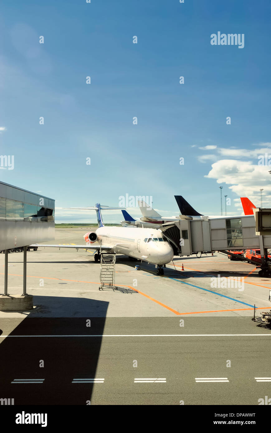 Airplanes on airport - Stock Image