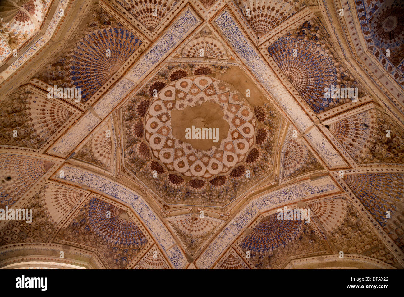 detail of painted interior of the mausoleum of Gawhar Shad, Herat, Afghanistan - Stock Image