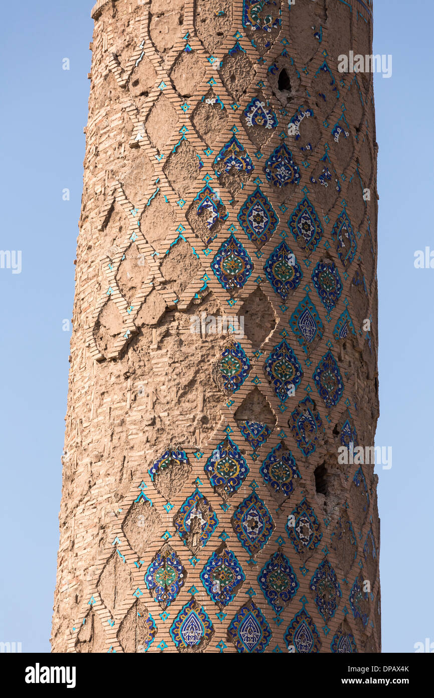 detail of the minaret of the madrasa of Gawhar Shad, Herat, Afghanistan - Stock Image