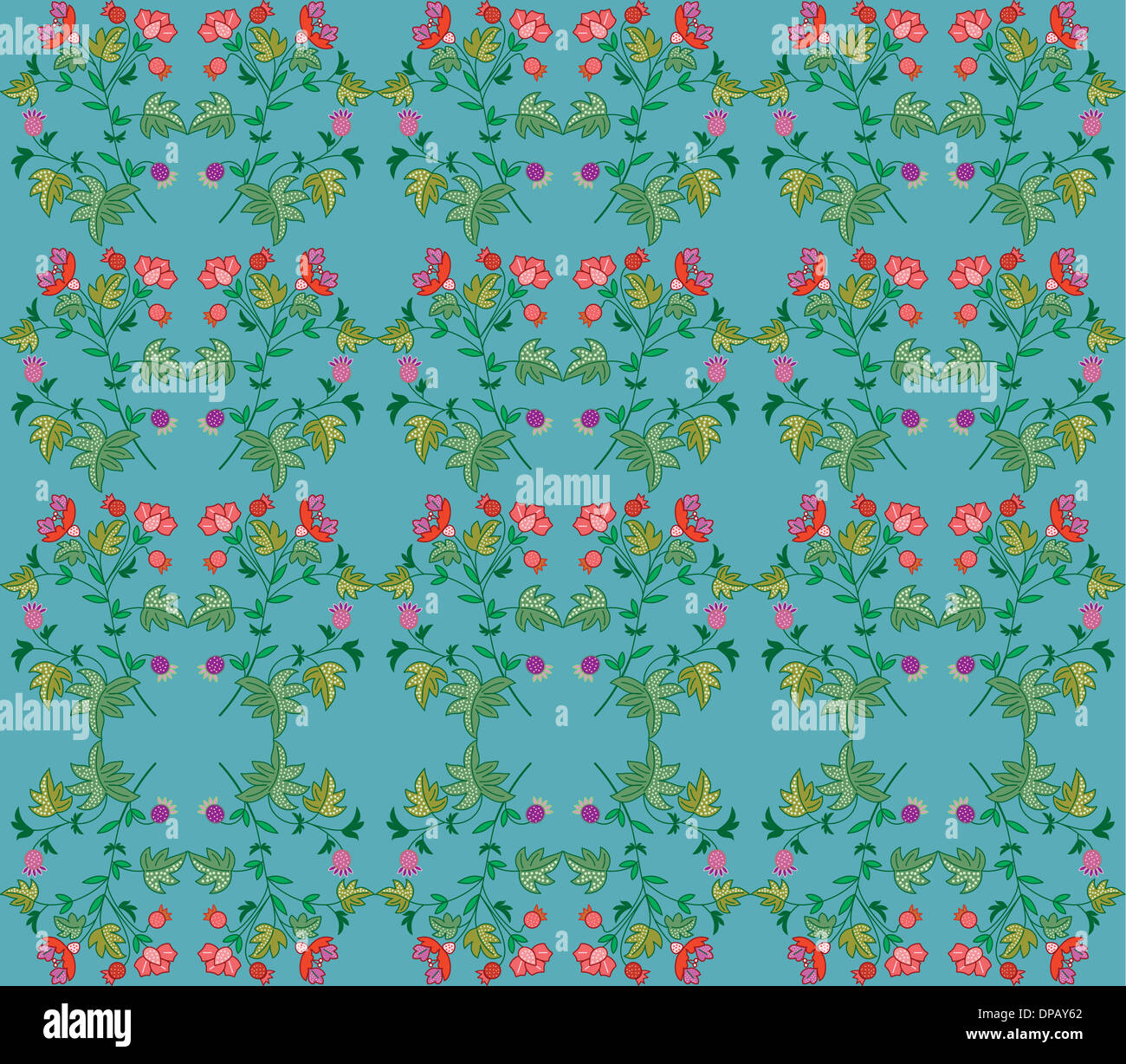 Flower pattern on a blue background - Stock Image
