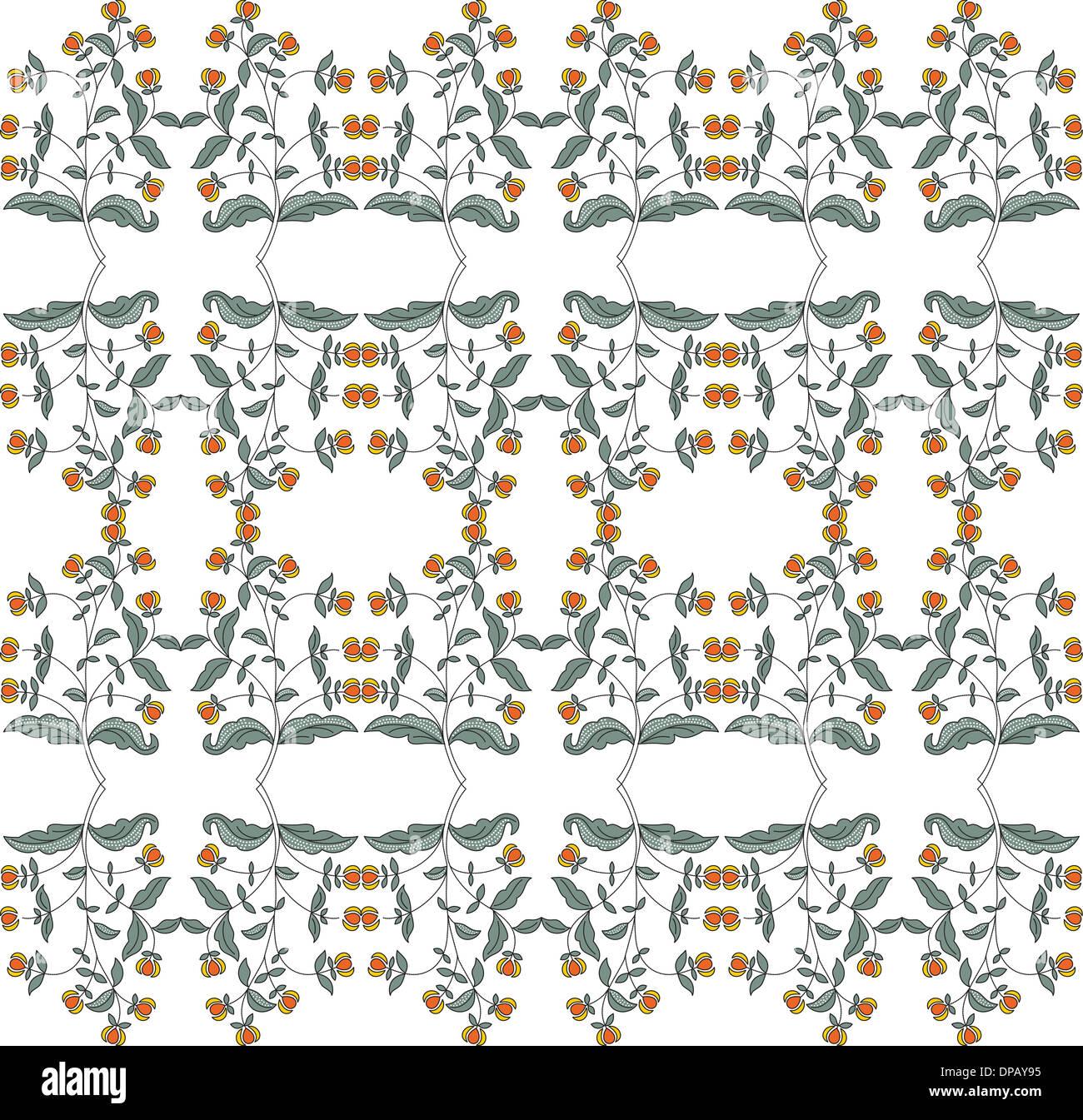 Orange and yellow flower pattern - Stock Image