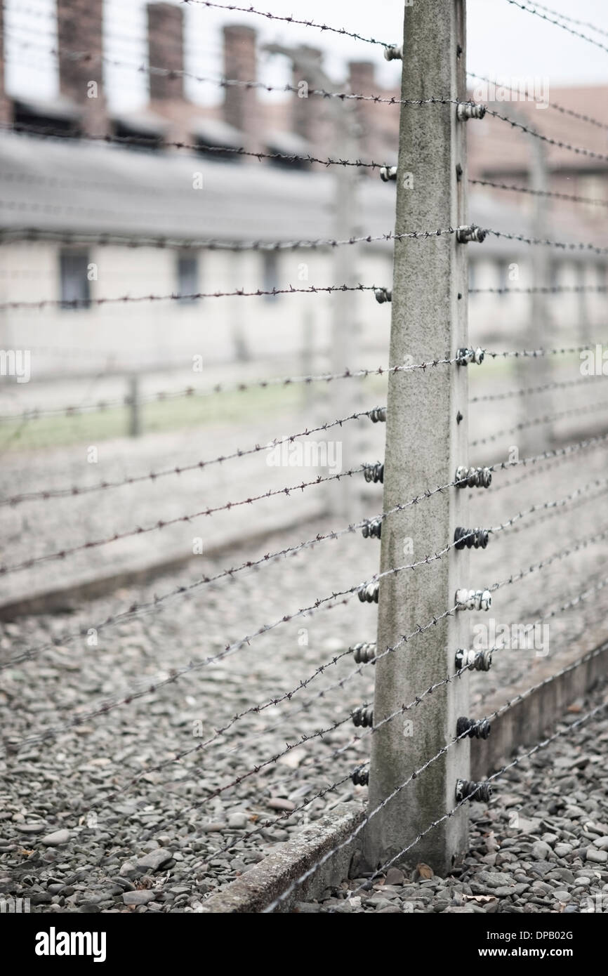 barbed wire fence concentration camp. Electric Barbed Wire Fence, Auschwitz Concentration Camp, Oswiecim, Poland, Europe Fence Camp R