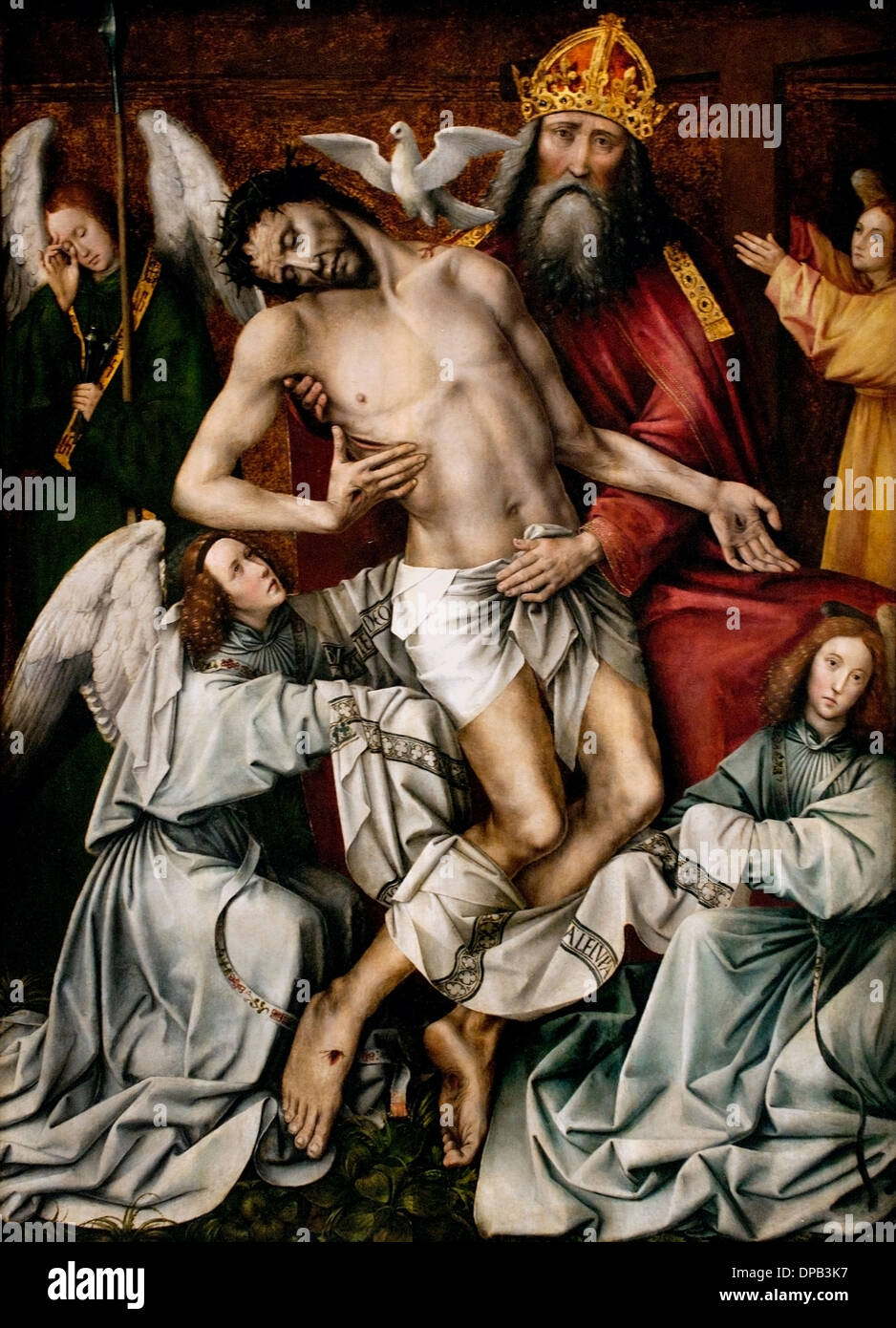 The Holy Trinity, God the Father supporting Christ 1510-1515 Colijn de Coter 1450, -1539 Flemish Belgian Belgium - Stock Image