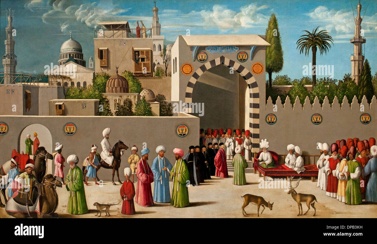 Receiving a delegation in  Damascus Syria Syrian 1511 Venetian artist unknown Venice Italy 1511 - Stock Image
