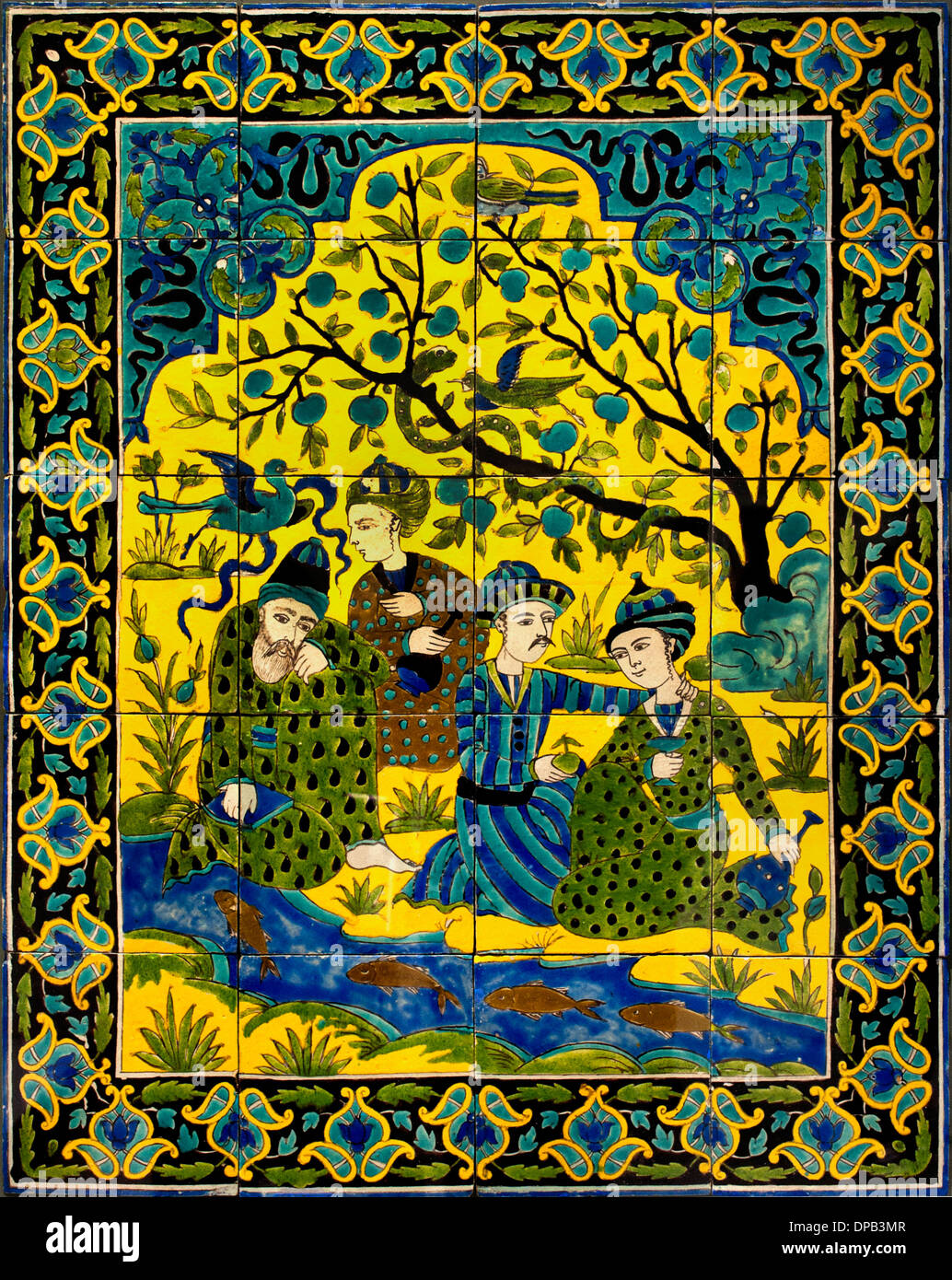 Panel siding: an assembly of mystical 1700-1800 Iran to ceramic decor black lines and colored glazes tile tiles Peria Persian Ir - Stock Image