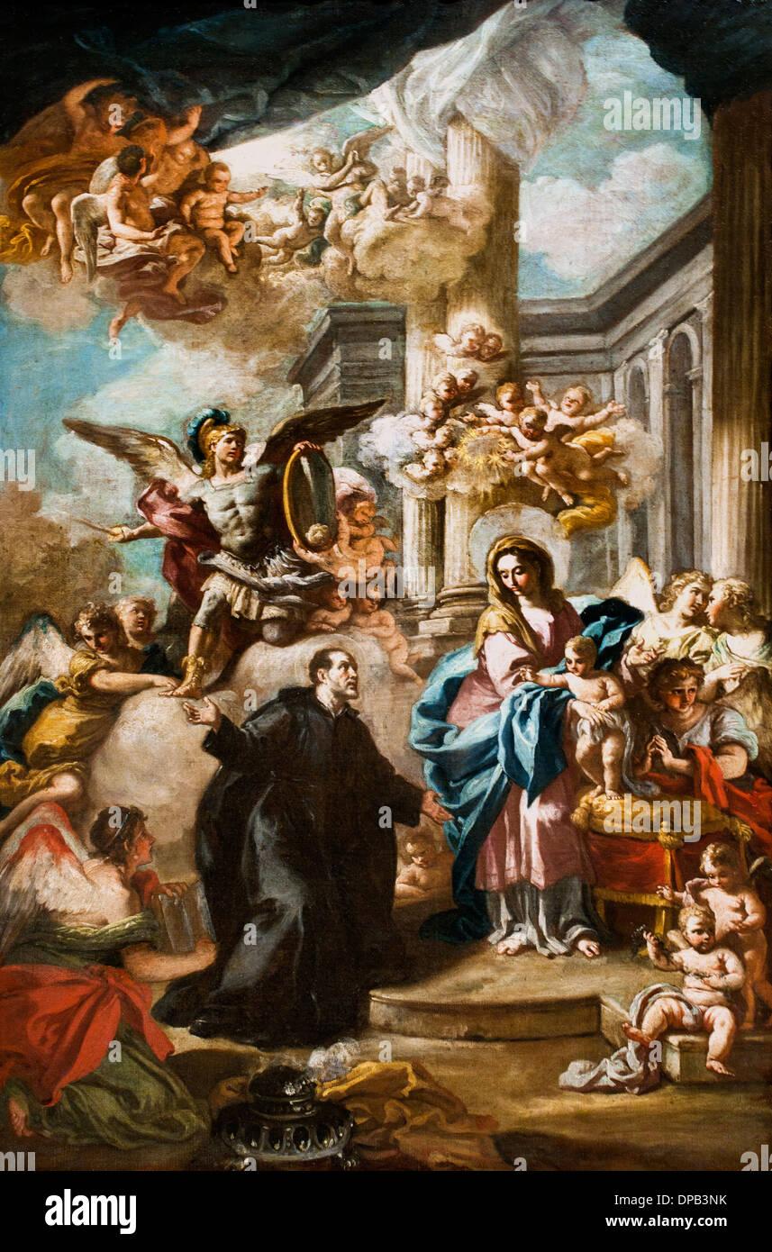 The Appearance of the virgin Mary to Joseph de Calasanz 1736 Nicola Maria Rossi 1690-1758 Italy Italian - Stock Image