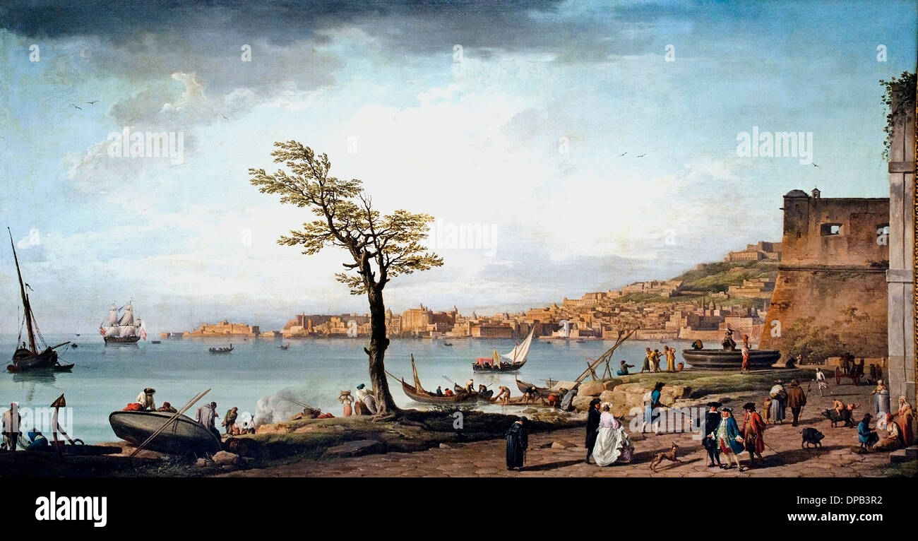 View of the Gulf of Naples 1748 Claude Joseph Vernet  1714 –  1789  France French - Stock Image