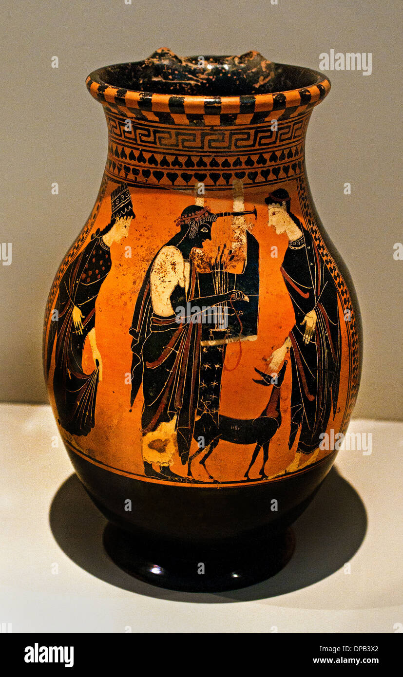 Olpe Apollo playing the kithara ( Guitar ) between his sister Artemis and his mother Leto  525-475 BC Greece Greek Stock Photo