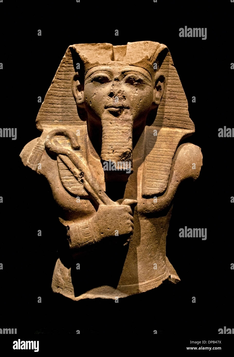 King -  Pharaoh  Ramses II holding crook and Fail 1240 BC Egypt Egyptian - Stock Image