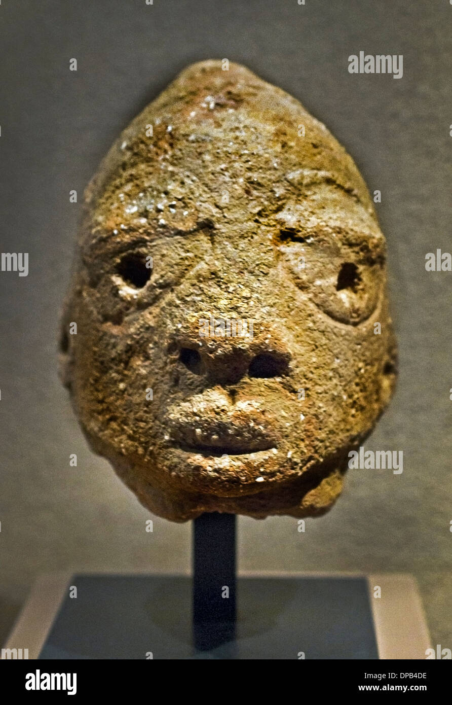 Clay head Nok Culture Nigeria Central Africa 800BC-200 AD Terracotta - Stock Image