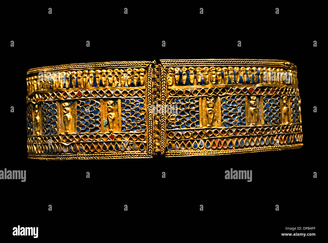 Armlet with depictions of mummy shape gods , Bell with Clapper 2000-1000 B.C. Sudan Nubia Egypt Egyptian - Stock Image