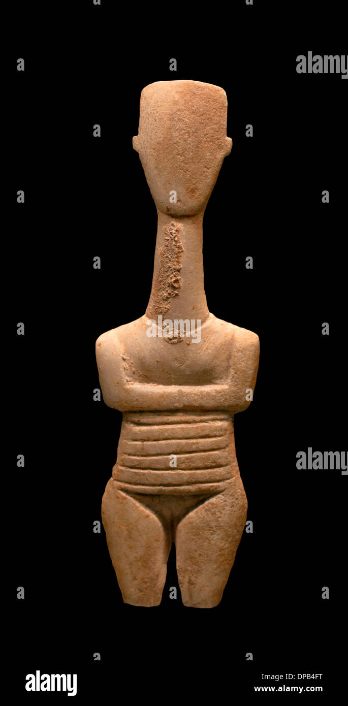 Gave birth to wrinkles fertility is indicated symbolically. An exception among the Cycladic idol 3000 BC Greek Greece - Stock Image