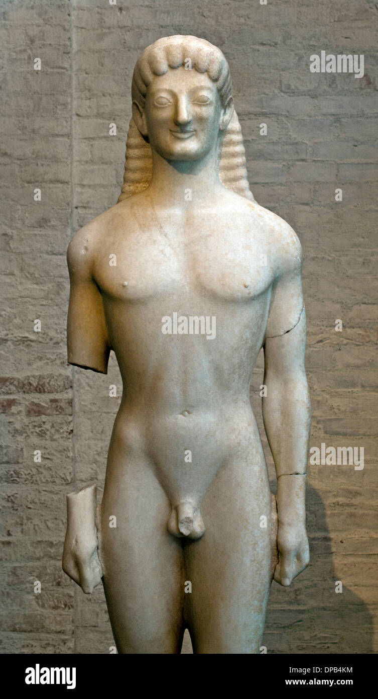 Archaic style.Apollo of Tenea  - The Tenea Kouros 560-550 BC  Greek Greece - Stock Image