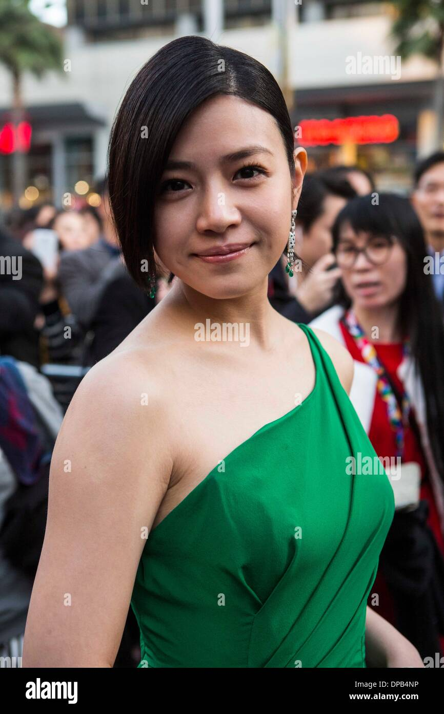 Los Angeles, USA. 10th Jan, 2014. Actress Michelle Chen arrives for the Hollywood TCL Microcinema Award Ceremony Stock Photo