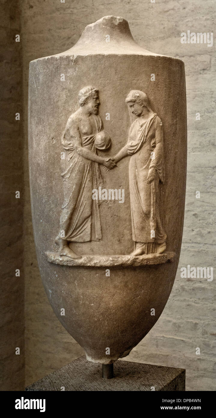 Lekythos 370 BC Greek Greece  As a sing of their attachment the couple reach out their hands to each other ( Grave monument - Stock Image