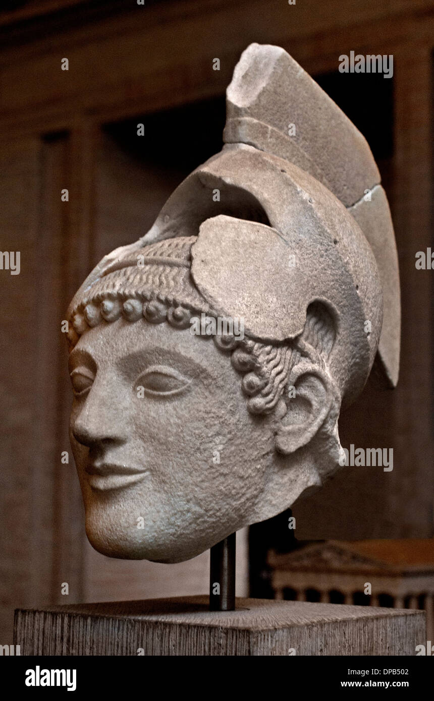 Temple of Aphaia at Aegina 500-490 BC  Warrior  in battle before Troy Greek Greece - Stock Image