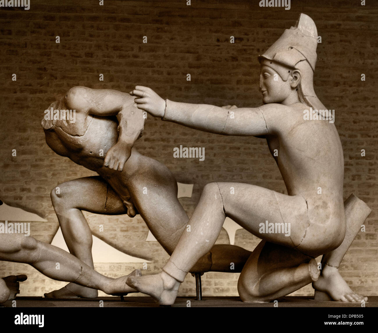 Temple of Aphaia at Aegina West Pediment. 500-490 BC Gods in battle before Troy goddess Athena Greek Greece - Stock Image