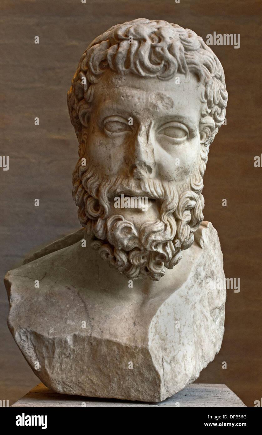Bust of the Metrodorus 331–277 BC  philosophy philosopher Greek ( Roman Copy ) - Stock Image