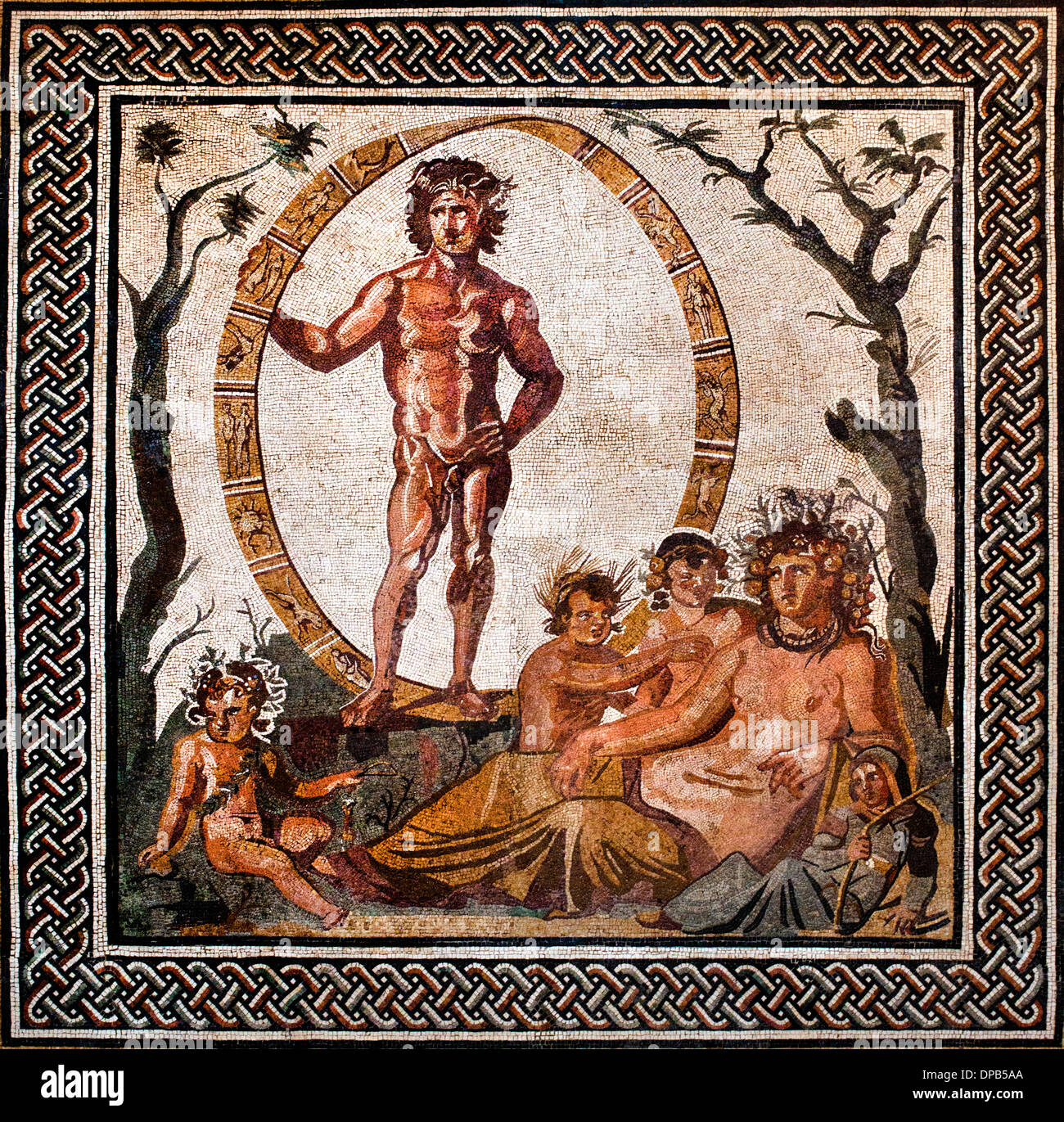 Floor mosaic Roman villa Sentinum ( Sassoferrato in Marche Italy ca. 200–250 C.E. Aion, the god of eternity - Stock Image