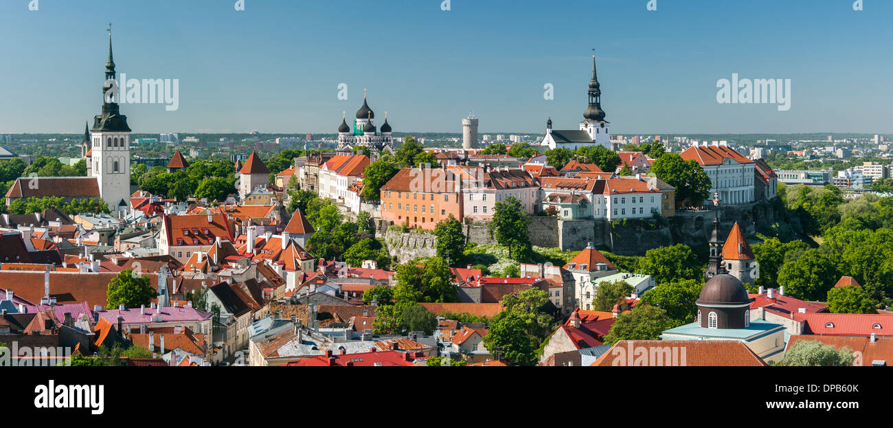 Panorama of the Old Town of Tallinn, Estonia, in summer - Stock Image
