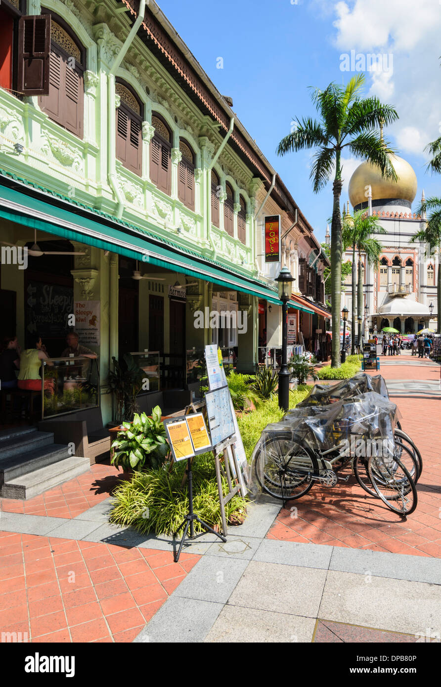 Pedestrian only part of Bussorah St and the Masjid Sultan in Kampong Glam, Singapore - Stock Image