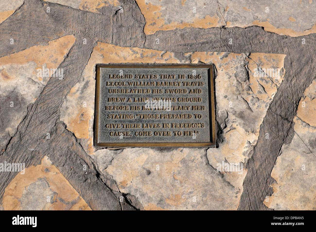 Line at Alamo -  Lt. Col. William Barret Travis drew a line at the Alamo inviting his men to step across and die for freedom - Stock Image