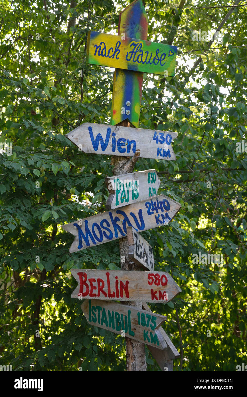 German signpost with capital cities - Stock Image