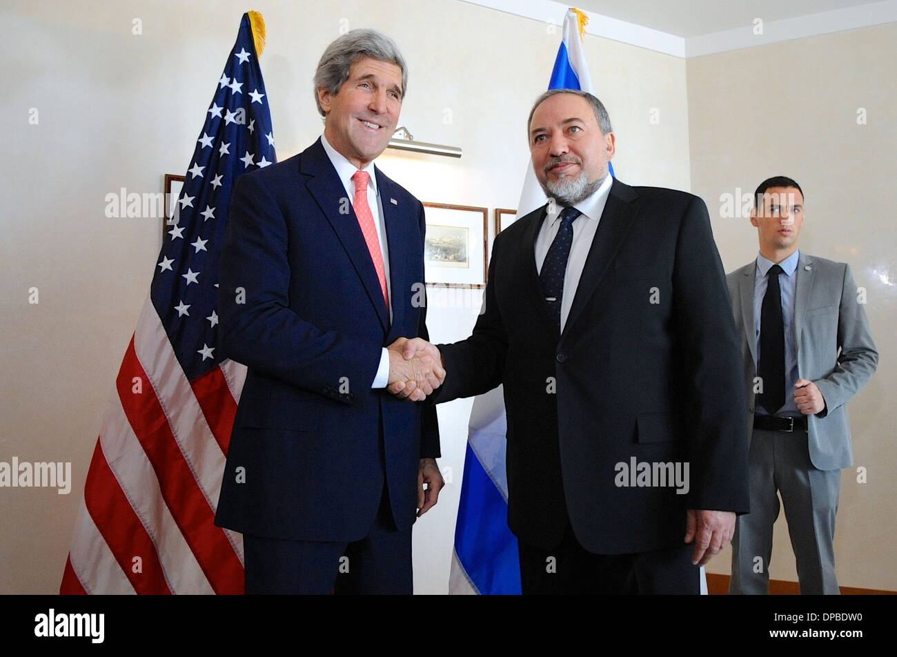 Secretary Kerry Meets With Israeli Foreign Minister Lieberman - Stock Image