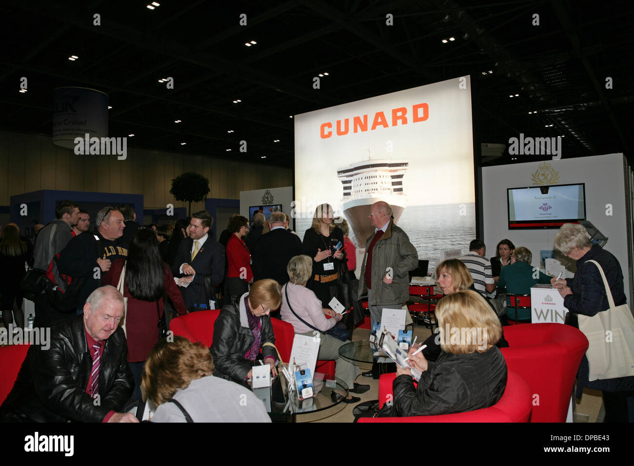 London, UK. 11th January 2014. Cunards stand at the London Cruise Show 2014 in Excel. Credit:  Keith Larby/Alamy Live News - Stock Image