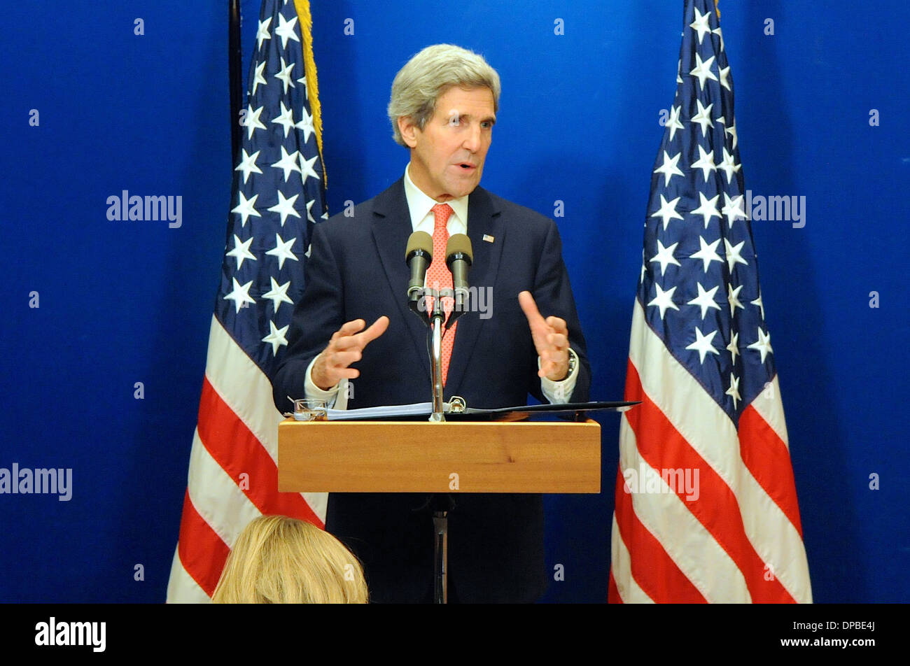 Secretary Kerry Discusses Middle East Peace Talks During News Conference - Stock Image