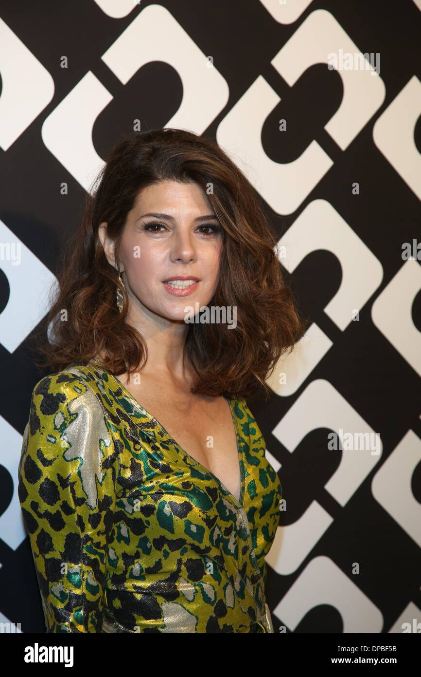 Los Angeles, California, USA. 10th January 2014. US-actress Marisa Tomei attends Diane Von Furstenberg's Journey of A Dress Exhibition Opening Celebration at May Company Building at LACMA West in Los Angeles, USA, on 10 January 2014. Photo: Hubert Boesl/dpa -NO WIRE SERVICE/KEIN BILDFUNK-/Alamy Live News - Stock Image