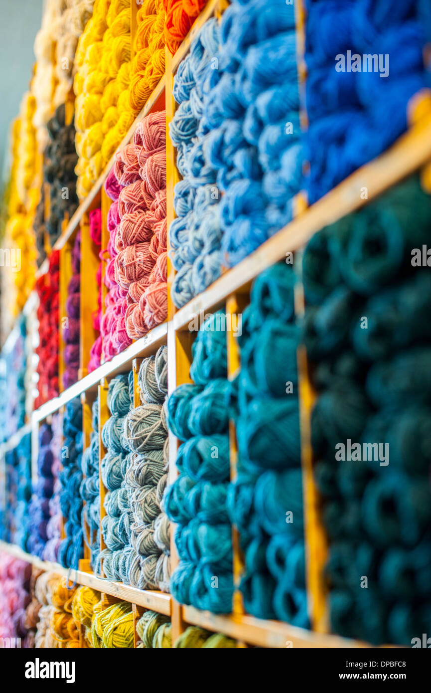 Yarn in multiple colors in sales stand Stock Photo