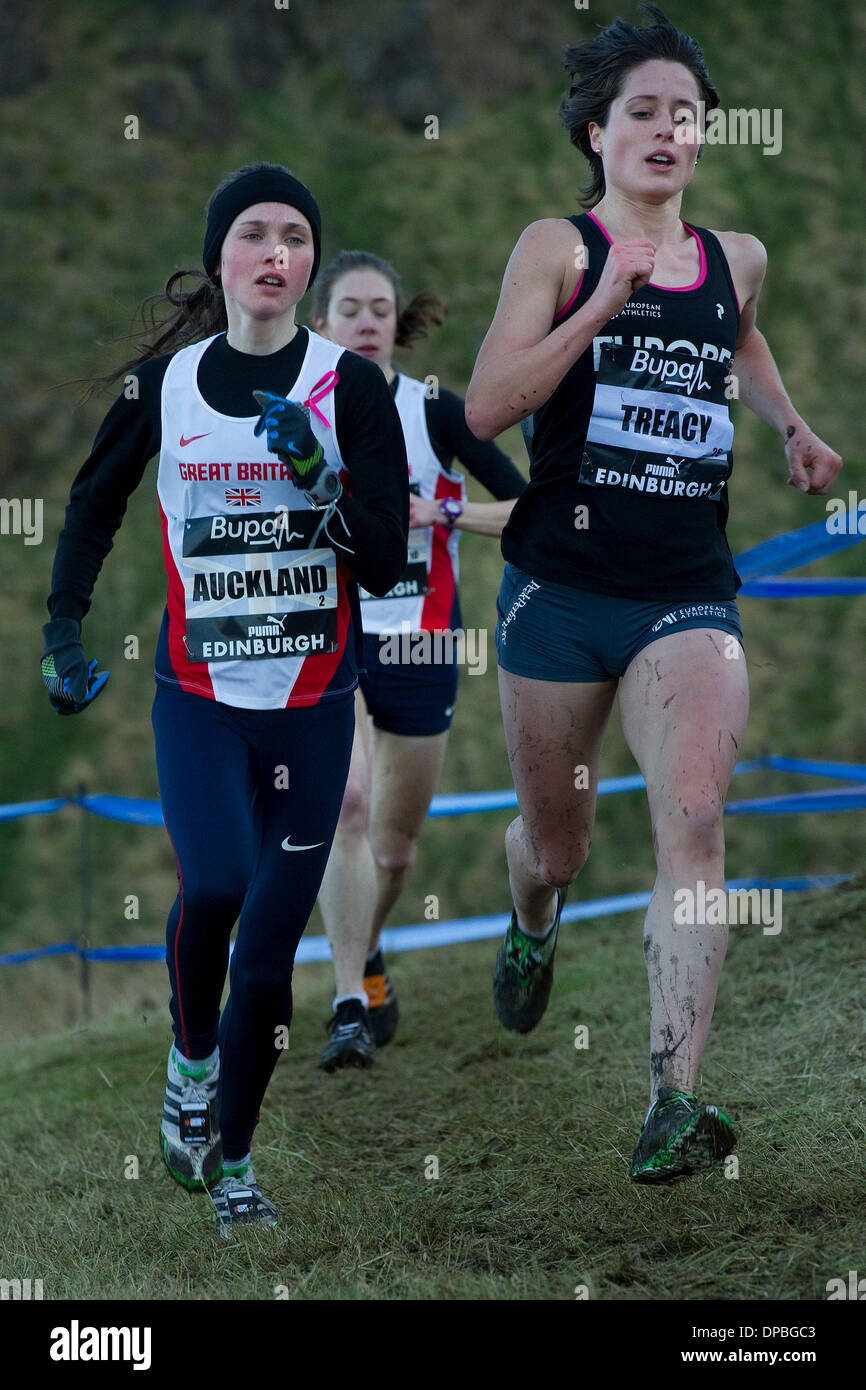 Edinburgh, Scotland, UK. 11th January 2014. The Bupa Great Edinburgh X Country takes place in Holyrood Park , pictured Womens 6K, Rhona Auckland, GBR Credit Steven Scott Taylor/Alamy Live News - Stock Image