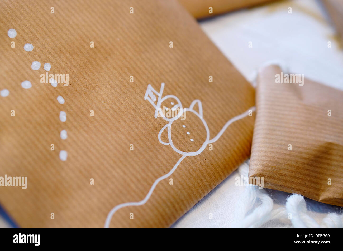 Detail of Individual made Advent calendar - Stock Image
