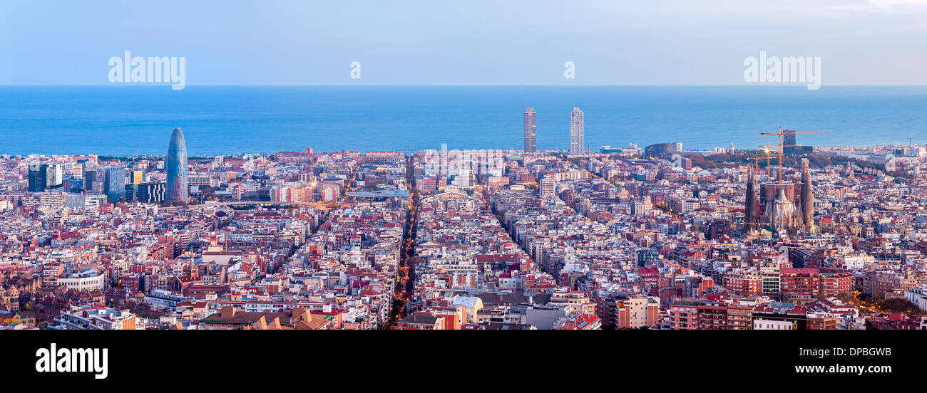 Barcelona skyline panorama at the beginning of the Blue Hour Stock Photo