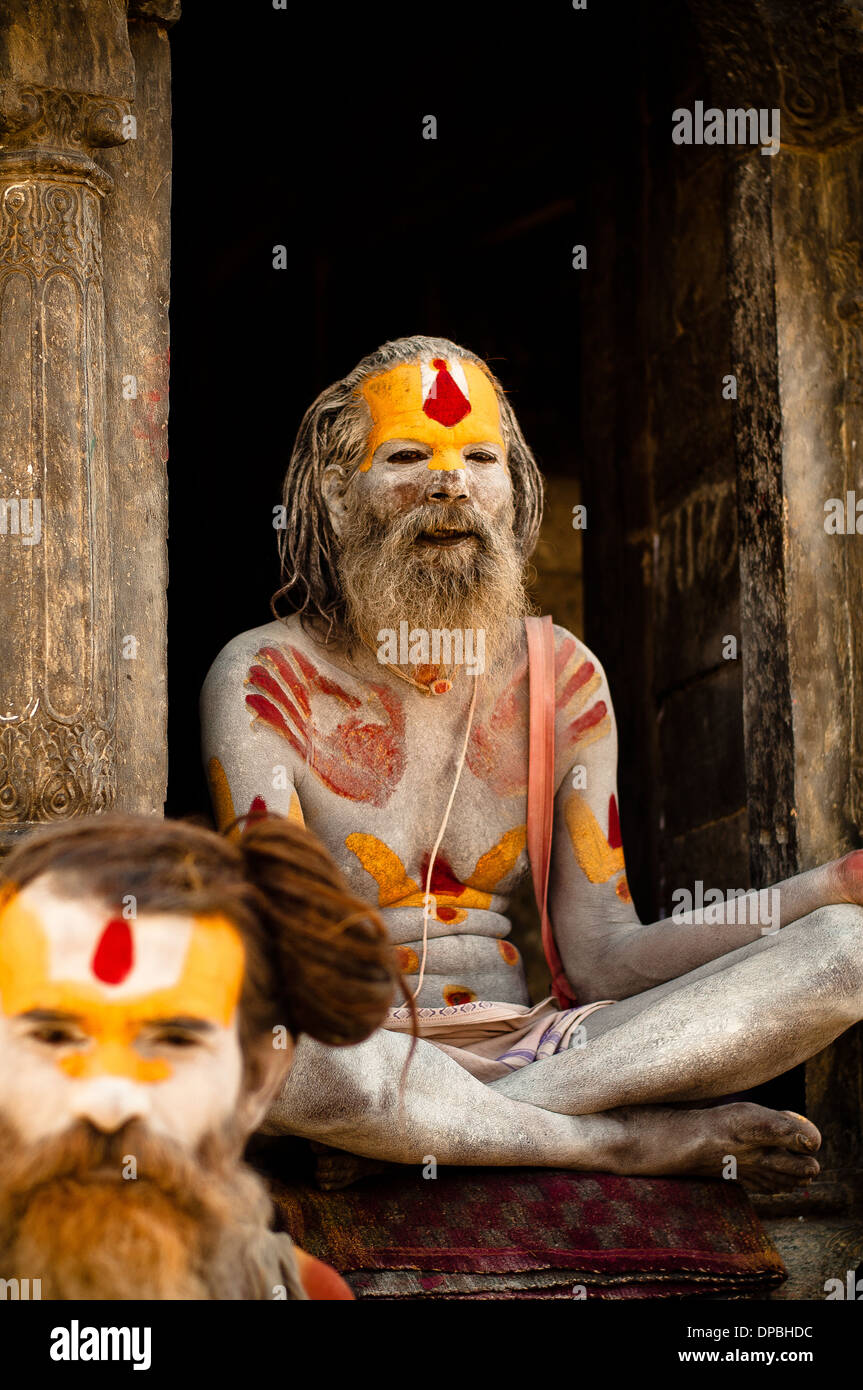 Sadhus outside of Pashupatinath in Kathmandu, Nepal - Stock Image