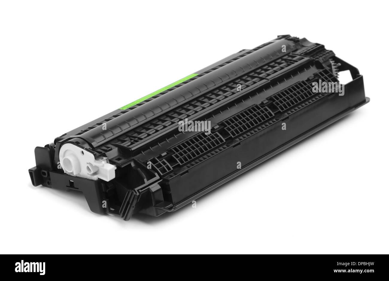 Black copier cartridge isolated on white - Stock Image