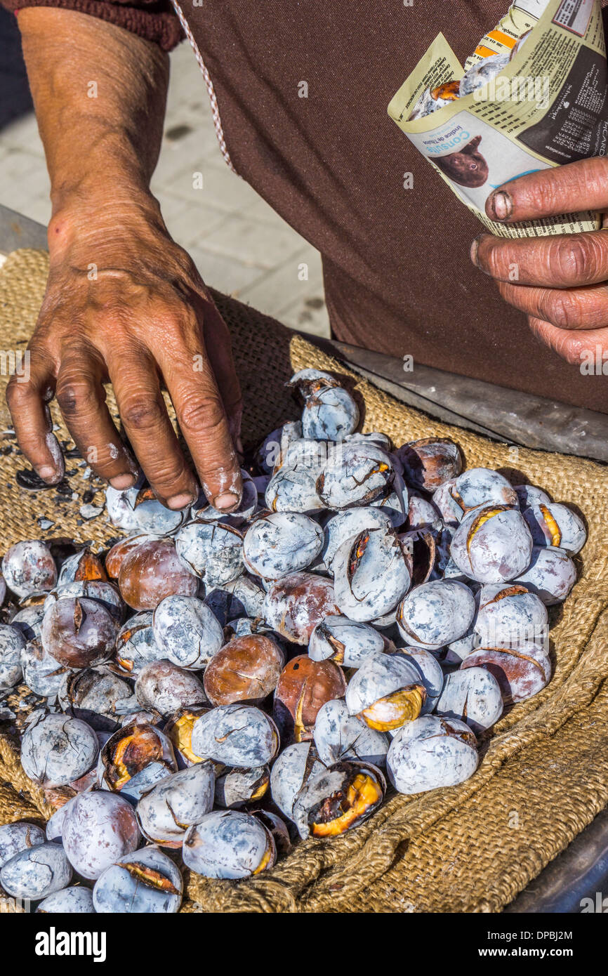roasted chestnuts are being filled in a bag made of newespaper, aljustrel, alentejo, portugal - Stock Image