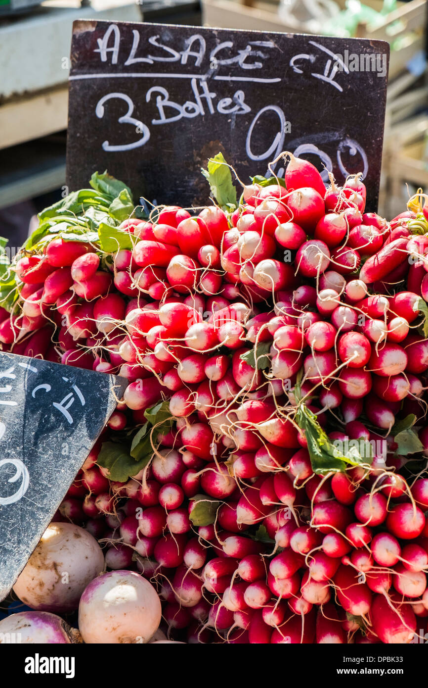 alsatian radishes for sale at an outdoor market, mulhouse, alsace, france - Stock Image